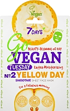 Parfums et Produits cosmétiques Masque tissu à l'extrait de poire pour visage - 7 Days Go Vegan Tuesday Yellow Day