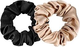 Parfums et Produits cosmétiques Lot de 2 Chouchou en soie naturelle - Makeup Scrunchie Set Black Gold
