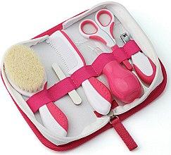 Parfums et Produits cosmétiques Kit de soin pour bébé, blanc-rose - Nuvita (brosse à cheveux + peigne + lime x 5 + ciseaux + coupe-ongles + mouche bébé poire)