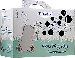 Parfums et Produits cosmétiques Mustela My Baby Bag Set - Coffret cadeau(eau nettoyente/300ml + gel lavant/200ml + crème visage/40ml + crème corps/50ml + lingettes nettoyantes/25pcs + sac)