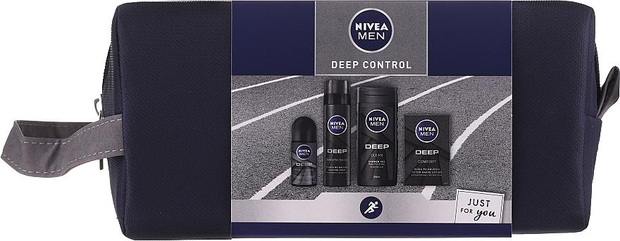 Nivea Men Deep Control 2020 - Set(gel douche/250ml + lotion après-rasage/100ml + mousse/200ml + déodorant/50ml + trousse de toilette)