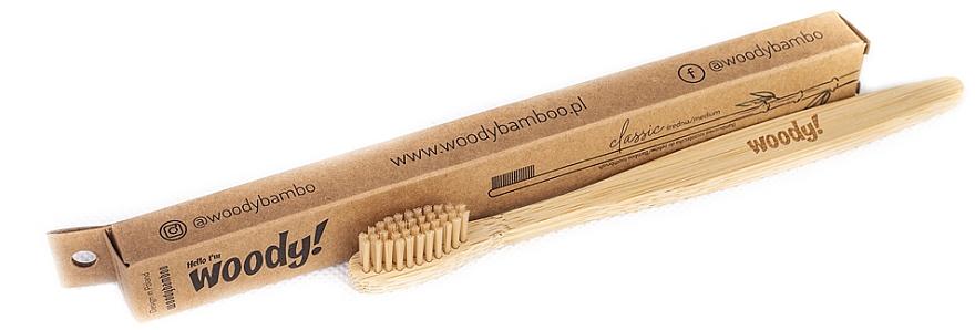Brosse à dents en bambou, medium - WoodyBamboo Bamboo Toothbrush Classic