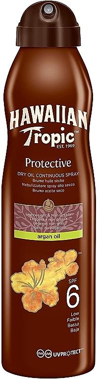 Huile sèche bronzante pour corps - Hawaiian Tropic Protective Dry Oil Continuous Spray Aragan Oil SPF 6 — Photo N1
