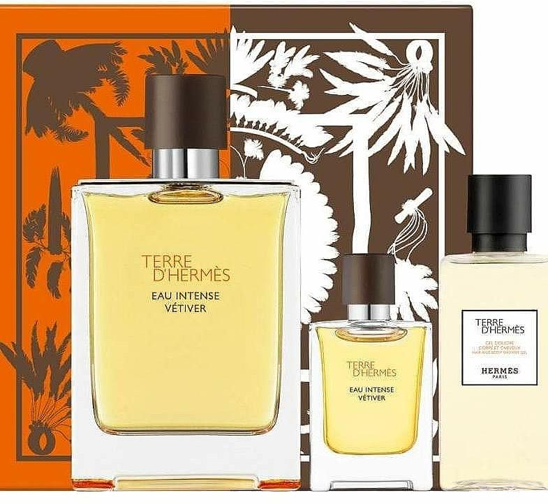 Hermes Terre d'Hermes Eau Intense Vetiver - Coffret (eau de parfum/100ml + gel douche/40ml + eau de parfum/5ml)