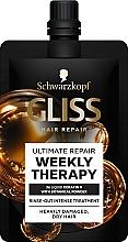 Parfums et Produits cosmétiques Traitement intensif à la poudre de coquille d'arganier et kératine pour cheveux - Schwarzkopf Gliss Kur Ultimate Repair Weekly Therapy