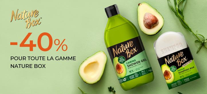 Jusqu'à 40% de réduction sur l'ensemble du Nature Box. Les prix sur le site sont indiqués avec des réductions