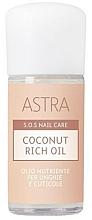 Parfums et Produits cosmétiques Huile à l'huile de noix de coco pour ongles et cuticules - Astra Make-up Sos Nails Care Coconut Rich Oil