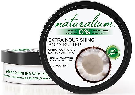 Beurre corporel nourrissant pour peaux normales et sèches, noix de coco - Naturalium Coconut Extra Nourishing Body Butter — Photo N1