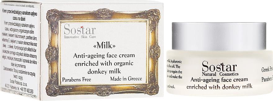 Crème au lait d'ânesse bio pour visage - Sostar Anti-ageing Face Cream Enriched With Donkey Milk — Photo N1