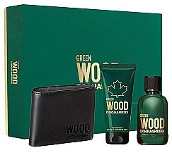 Parfums et Produits cosmétiques Dsquared2 Green Wood Pour Homme - Coffret (eau de toilette/100ml + gel douche/100ml + portefeuille)