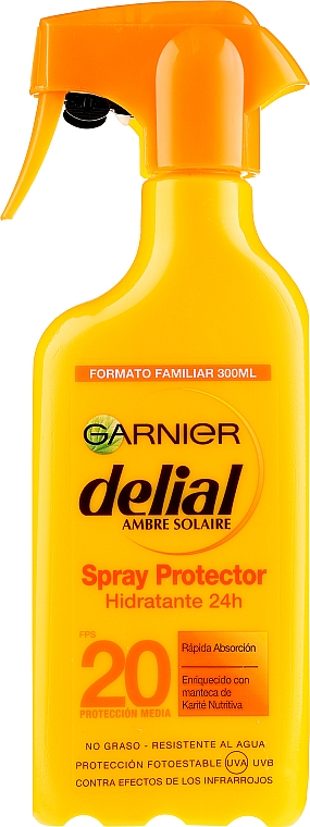 Spray solaire hydratant pour corps - Garnier Delial Ambre Solaire 24h Hydration Spray Protector SPF20 — Photo N1