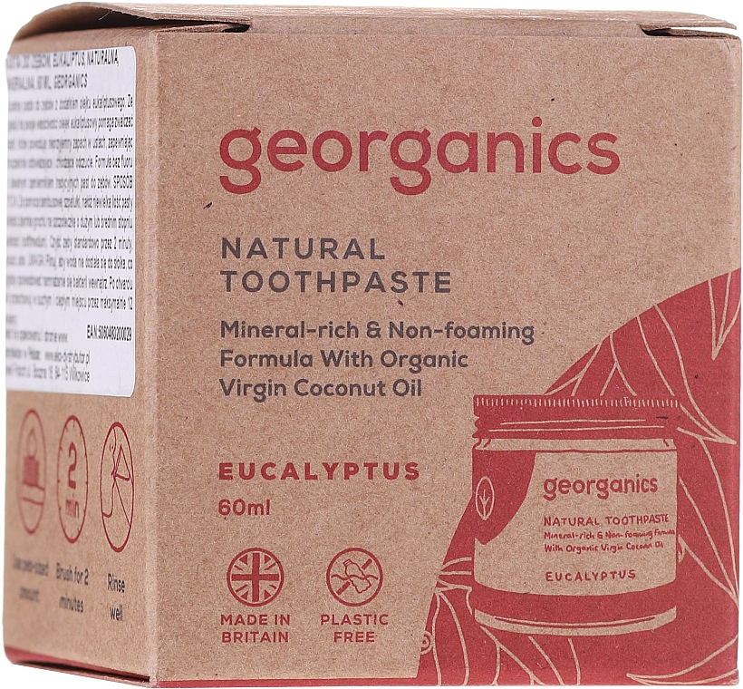 Dentifrice à l'huile de coco bio et eucalyptus - Georganics Eucalyptus Natural Toothpaste — Photo N2