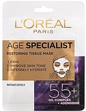 Parfums et Produits cosmétiques Masque tissu à l'huile de noyau d'abricot pour visage - L'Oreal Paris Age Specialist 55+