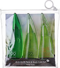 Parfums et Produits cosmétiques Holika Holika Jeju Aloe Face And Body Care Set - Set soin (mousse 55 ml + gel 55 ml + gel douche 55 ml)