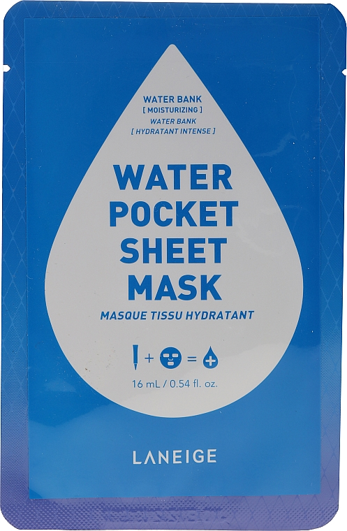 Masque tissu hydratant pour visage - Laneige Water Pocket Sheet Mask Water Bank — Photo N1