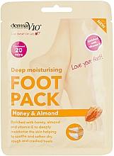 Parfums et Produits cosmétiques Masque-chaussettes au miel, amandes et vitamine E - Derma V10 Peel Foot Pack Honey & Almond Socks