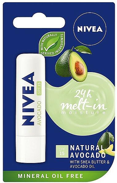 Baume à lèvres à l'huile d'avocat - Nivea 24H Melt-in Natural Avocado Lip Balm SPF15 — Photo N1