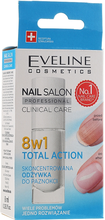 Revitalisant pour ongles - Eveline Cosmetics Nail Salon Clinical Care 8 in 1