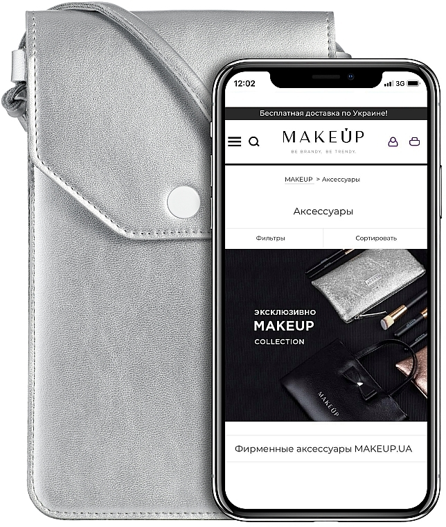 Étui argent pour téléphone - Makeup Phone Case Crossbody Silver