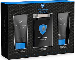 Parfums et Produits cosmétiques Tonino Lamborghini Acqua - Set (eau de toilette/125ml + gel douche/100ml + baume après-rasage/100ml)