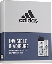 Parfums et Produits cosmétiques Coffret cadeau - Adidas Pro Invisible & Adipure (sh/gel/250ml + deo/spray/150ml)