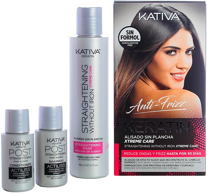 Kativa Lissage Anti-Frisottis sans Iron Xtreme Care - Set (shampooing/30ml + après-shampooing/30ml + masque pour cheveux/150ml)