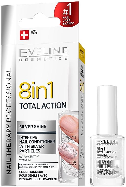 Durcisseur aux particulés d'argent pour les ongles, 8en1 - Eveline Cosmetics 8in1 Silver Shine Nail Therapy