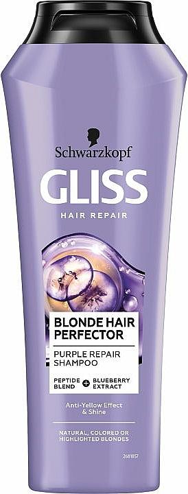 Shampooing anti-jaunissement à l'extrait de myrtille - Schwarzkopf Gliss Kur Blonde Hair Perfector Purple Repair Shampoo