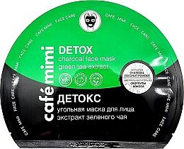 Parfums et Produits cosmétiques Masque tissu au charbon et thé vert pour visage - Cafe Mimi Detox Charcoal Face Mask Green Tea Extract