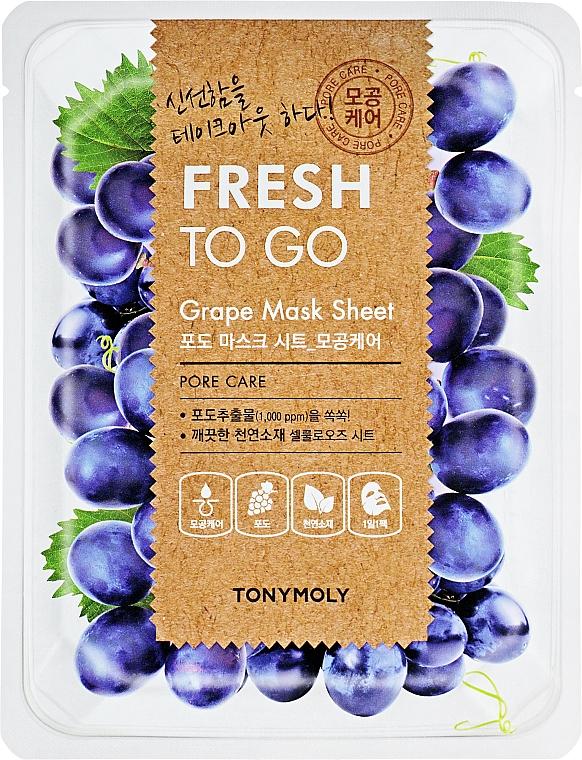 Masque tissu à l'extrait de graines de raisin pour visage - Tony Moly Fresh To Go Mask Sheet Grape — Photo N1