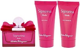 Parfums et Produits cosmétiques Salvatore Ferragamo Signorina Ribelle - Coffret (eau de parfum/50ml + gel bain et douche/50ml + lotion corporelle/50ml)