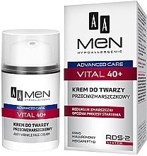 Parfums et Produits cosmétiques Crème à l'acide hyaluronique pour visage - AA Men Advanced Care Vital 40+ Face Cream Anti-Wrinkle