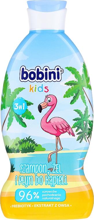 Shampooing, gel douche et bain moussant 3-en-1 Framboise pétillante - Bobini