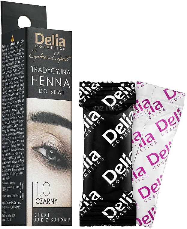 Teinture en poudre pour sourcils, noir - Delia Brow Dye Henna Traditional Black