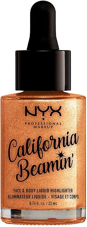 Enlumineur liquide visage et corps - NYX Professional Makeup California Beamin' Face & Body Liquid Highlighter — Photo N1