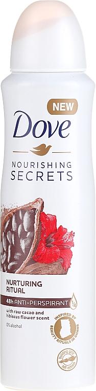 Déodorant spray sans alcool, Cacao et Hibiscus - Dove Nourishing Secrets Cacao & Hibiscus Dry Spray Antiperspirant