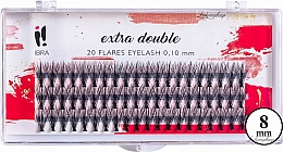 Parfums et Produits cosmétiques Faux-cils individuels, C 0,1 mm, 8 mm - Ibra Extra Double 20 Flares Eyelash C 8 mm