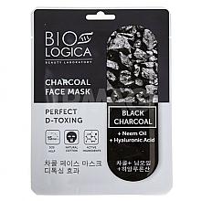 Parfums et Produits cosmétiques Masque tissu détoxifiant au charbon pour visage - Biologica Charcoal