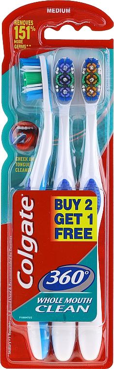 Brosses à dents, médium, bleu, violet et orange - Colgate 360