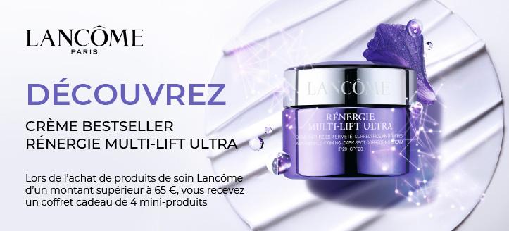 Lors de l'achat de produits de soin Lancôme d'un montant supérieur à 65 €, vous recevez un coffret cadeau de 4 mini-produits
