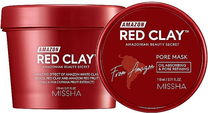 Masque à l'argile rouge et extrait de guarana pour visage - Missha Amazon Red Clay Pore Mask