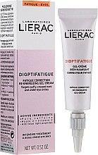 Parfums et Produits cosmétiques Gel-crème à la caféine pure et vitamine C contour des yeux - Lierac Dioptifatigue Fatigue Correction Re-Energizing Gel-Cream