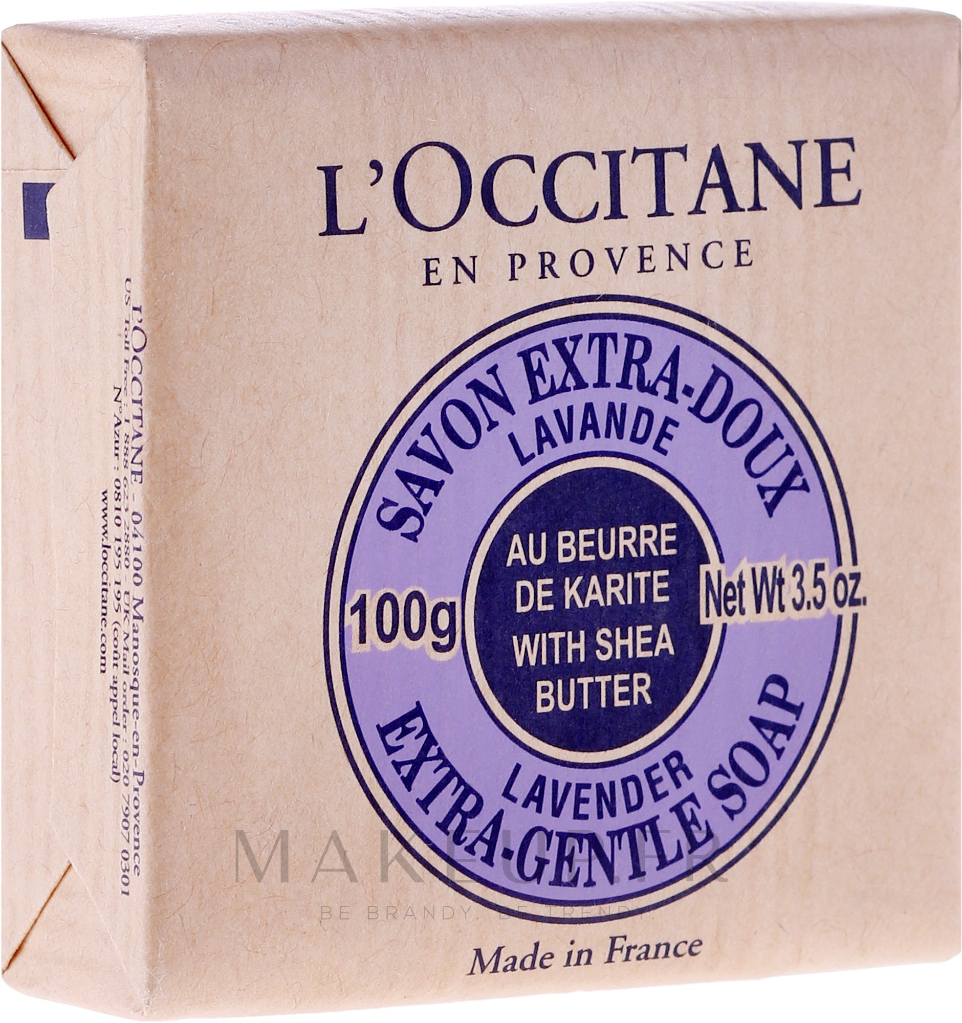 Savon au beurre de karité et lavande - L'occitane Shea Butter Extra Gentle Soap-Lavender — Photo 100 g