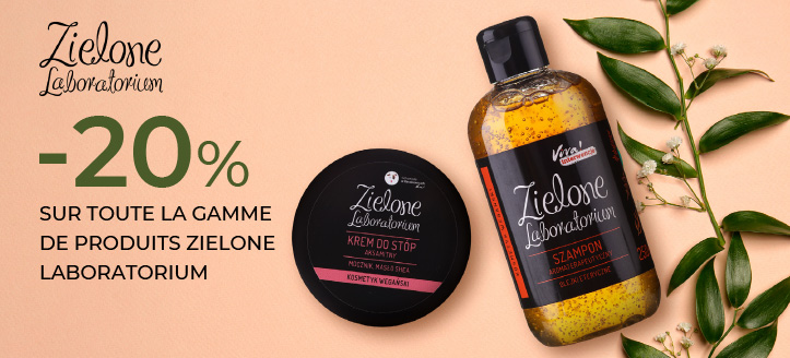 -20% sur toute la gamme de produits Zielone Laboratorium. Les prix sur le site sont indiqués avec des réductions