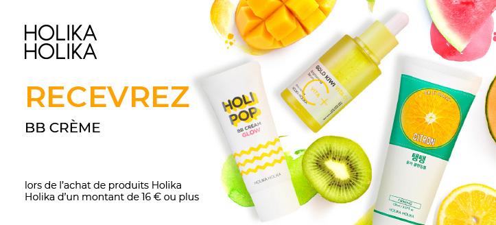 Lors de l'achat de produits Holika Holika d'un montant de 16 € ou plus, vous recevrez une BB crème en cadeau