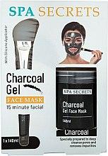 Parfums et Produits cosmétiques Spa Secrets Charcoal Gel Face Mask - Set(masque gel/140ml + pinceau applicateur masque/1pcs)