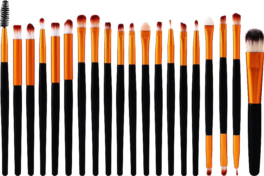 Set pinceaux de maquillage, 20 pcs, noir et or - Lewer