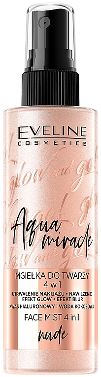 Brume fixateur de maquillage - Eveline Glow And Go! Aqua Miracle Face Mist 4in1 Nude