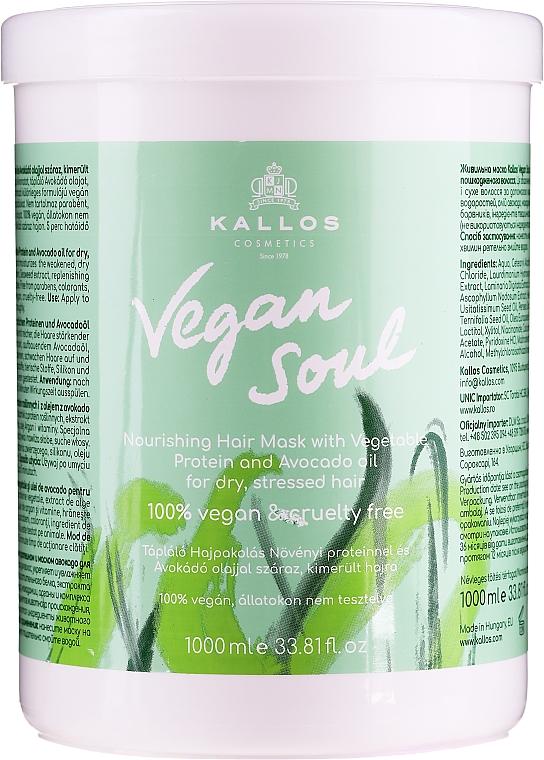 Masque aux protéines végétales et l'huile d'avocat pour cheveux - Kallos Cosmetics KJMN Vegan Soul Nourishing Hair Mask
