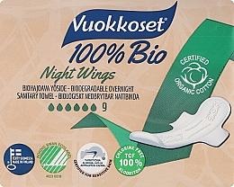Parfums et Produits cosmétiques Serviettes hygiéniques, 9 pcs - Vuokkoset Bio Night Wings